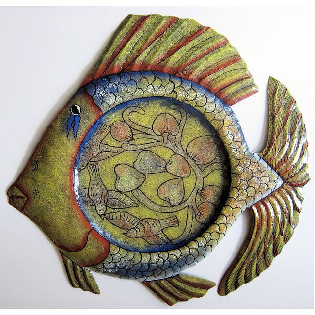 Haitian Tin Art Recycled Oil Drum Painted Fish Platter Wall Art (Haiti)
