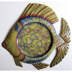 Recycled Oil Drum Painted Fish Platter Wall Art (Haiti)