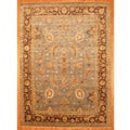 Indo Hand-knotted Light Blue/ Brown Oushak Wool Rug (10' x 14')