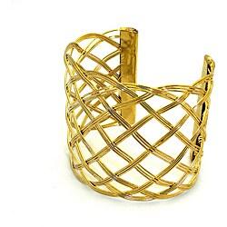 Woven Crosshatch Brass Cuff (India)
