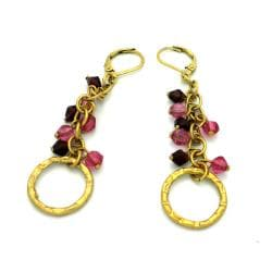 Hammered Brass Pink and Burgundy Glass Charm Earrings (India)