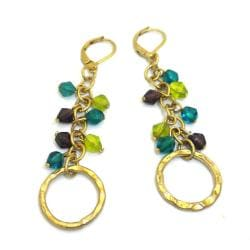 Goldtone Kiwi, Teal and Purple Glass Charm Earrings (India)
