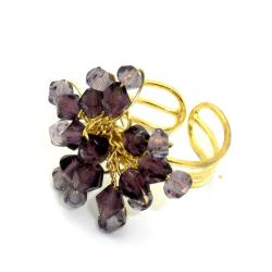 Plum Starburst Beaded Brass Ring (India)