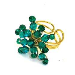 Teal Starburst Beaded Brass Ring (India)