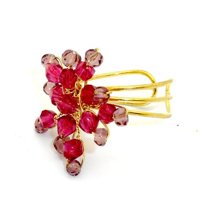 Pink Starburst Beaded Brass Ring (India)