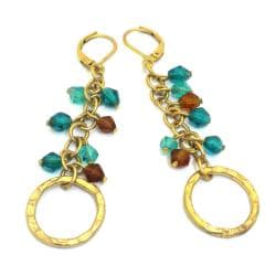 Goldtone Teal and Burgundy Glass Charm Earrings (India)