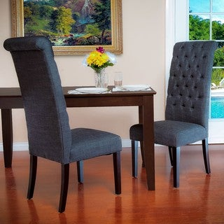 tall grey fabric dining chairs set of 2 overstock