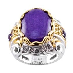 Michael Valitutti Two-tone Palladium-silver Purple Jade and Amethyst Ring
