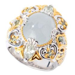 Michael Valitutti Two-tone Frosted Aquamarine and Green Amethyst Ring