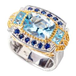 Michael Valitutti Two-tone Aquamarine and Blue Topaz Ring