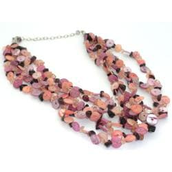 Pink Mother of Pearl Shell Multi-strand Necklace (India)