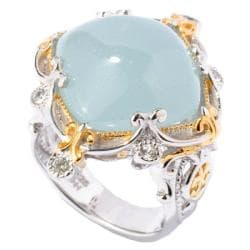 Michael Valitutti Two-tone Frosted Aquamarine and White Sapphire Ring
