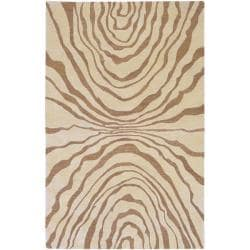 Hand-tufted Contemporary Beige Baltimore New Zealand Wool Abstract Rug (8' x 11')