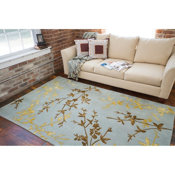 Hand-tufted Jackson Gray Floral Wool Rug (8' x 11')