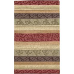 Hand-crafted Red Striped Casual Oakland Wool Rug (8' x 11')