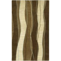 Hand-knotted Contemporary Brown/White Stripe Juneau New Zealand Wool Rug (9' x 13')