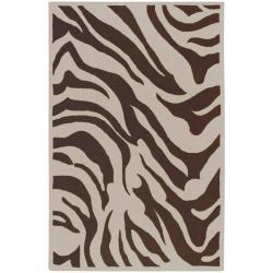 Hand-tufted Brown/White Zebra Animal Print Austin Wool Rug (8' x 11')