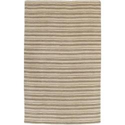 Hand-crafted Brown/Beige Stripe Fairbanks Wool Rug (8' x 11')