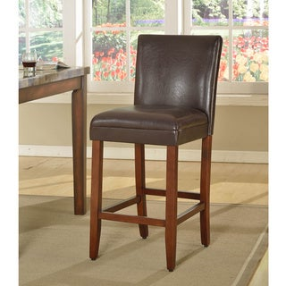 29-inch Luxury Brown Faux Leather Barstool