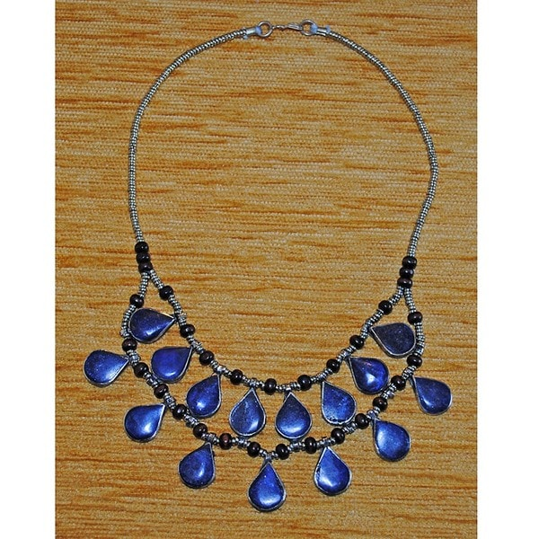 Silver Tribal Teardrop Lapis Lazuli Necklace (Afghanistan)