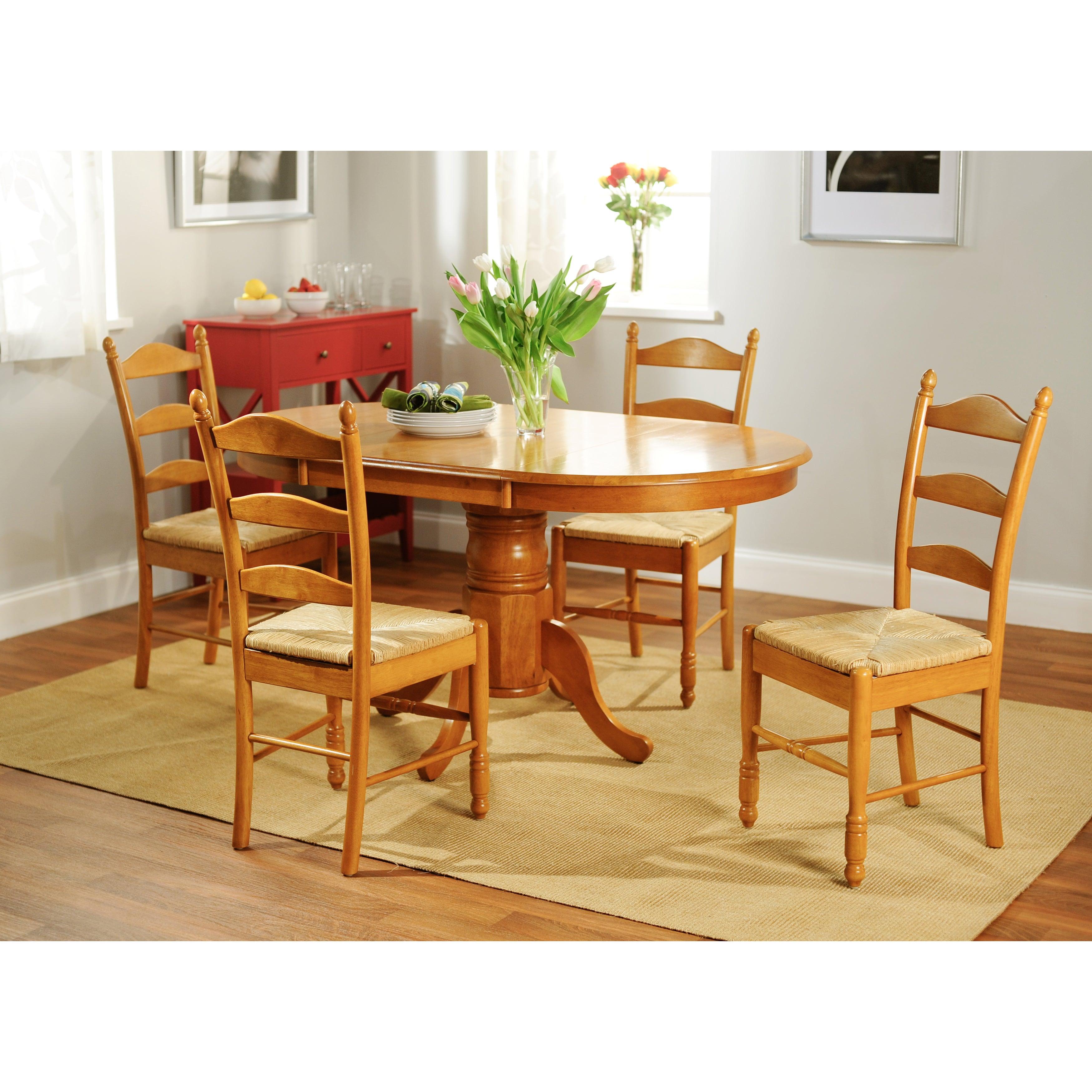 Simple Living Oak Finish 5-piece Ladderback Dining Set