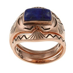 Southwest Moon Copper Lapis Stackable 3-piece Ring Set