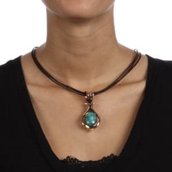 Southwest Moon Antique-finished Copper Turquoise Teardrop Necklace