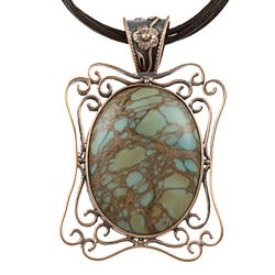 Southwest Moon Copper Snake Skin Jasper Filigree Necklace