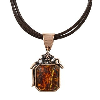 Southwest Moon Copper Amber Floral Necklace