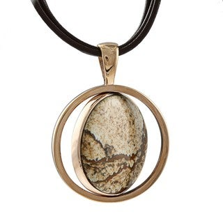 Southwest Moon Copper Round Picture Jasper Spinner Necklace