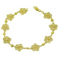 Fremada 14k Yellow Gold Diamond-cut Flower Link Bracelet