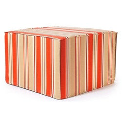 'Orange Thick Stripes' Outdoor Ottoman