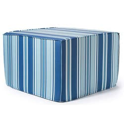'Blue Thick Stripes' Outdoor Ottoman
