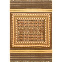 Hand-woven Palas Denizli Kilim Beige Wool Rug (8' x 11')