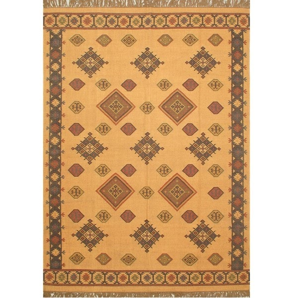 Hand-woven Palas Kashkuli Kilim Beige Wool Rug (8' x 11')