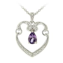 Glitzy Rocks Sterling Silver Diamond and Amethyst Heart Necklace