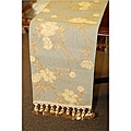Corona Decor Floral Italian Woven Table Runner with Tassels
