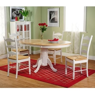 White Wood and Rush 5-piece Ladderback Dining Set