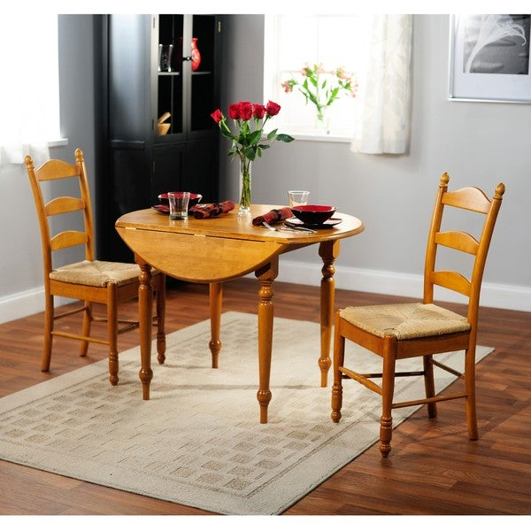 Wood and rush 3 piece ladderback dining set table room for 3 piece dining room table
