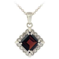 Glitzy Rocks Sterling Silver Garnet and Diamond Accent Square Necklace