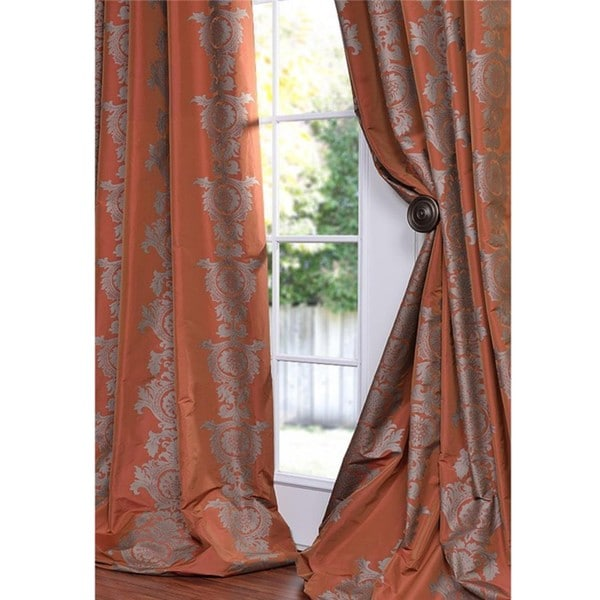 Exclusive Fabrics Ralston Printed Rust Faux Silk 96-inch Curtain Panel