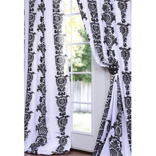 Ralston Printed White and Black Faux Silk 108-inch Curtain Panel