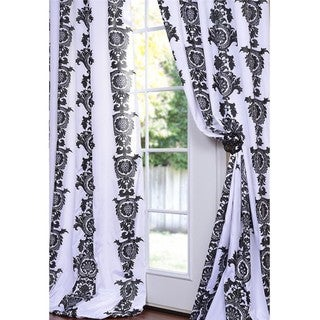 Ralston Printed White and Black  Faux Silk 84-inch Curtain Panel