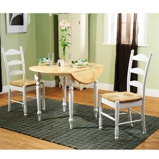 White Wood and Rush 3-piece Ladderback Dining Set