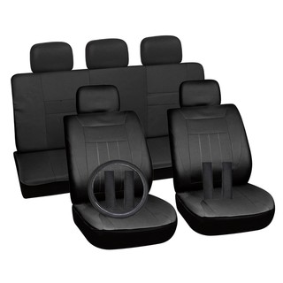 Solid Black 16-piece Car Seat Cover Set