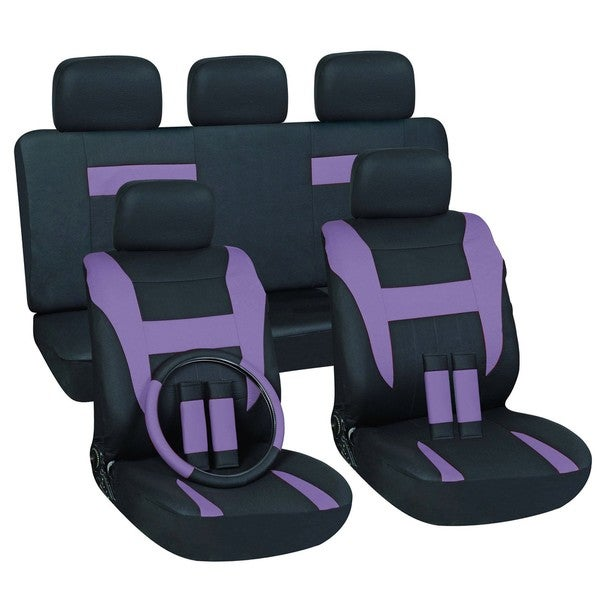 purple 16 piece car seat cover set overstock shopping big discounts on car seat covers. Black Bedroom Furniture Sets. Home Design Ideas