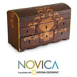 Handcrafted Cedar Wood 'Colonial Treasure' Jewelry Box (Peru)
