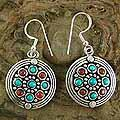 Sterling Silver 'Bright Berries' Turquoise and Carnelian Earrings (India)