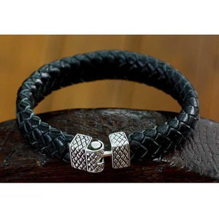 Sterling Silver Men's 'Virile' Leather Bracelet (Indonesia)
