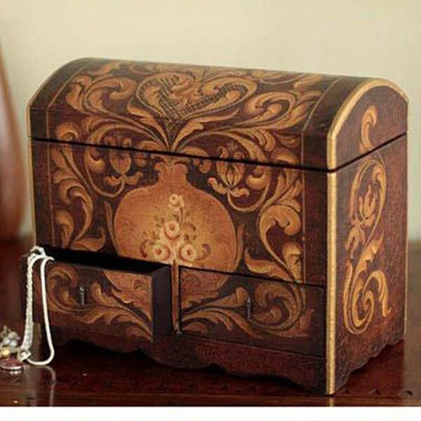 Handcrafted Cedar Wood 'Antonio' Jewelry Box (Peru)